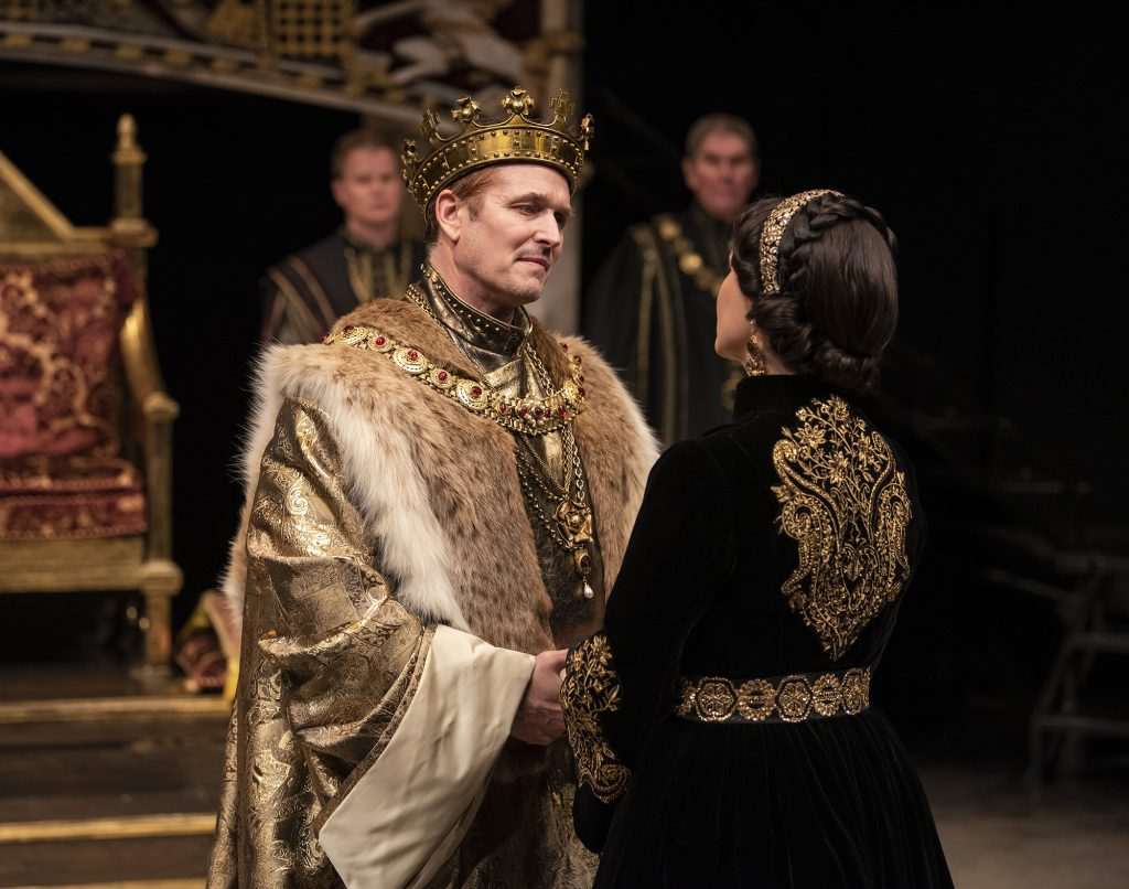 Jonathan Goad as King Henry VIII and Irene Poole as Queen Katherine in Henry VIII.