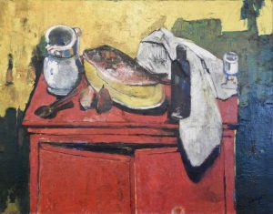 Figure 1 Bernard Lorjou (1908-1986), Le Buffet Rouge (1946-47), oil on canvas, 113 x 144 cm. Gift of Hélène V. Rubin and Lionel Rubin, B.C.L. '35, conserved with the support of a generous donor. McGill Visual Arts Collection. © Association Bernard Lorjou