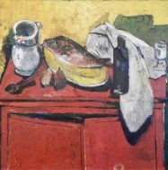 Bernard Lorjou (1908-1986), Le Buffet Rouge (1946-47), oil on canvas, 113 x 144 cm. Gift of Hélène V. Rubin and Lionel Rubin, B.C.L. '35, conserved with the support of a generous donor. McGill Visual Arts Collection. © Association Bernard Lorjou