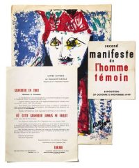 Figure 3 Catalogue, poster, and open letter by Bernard Lorjou, one of the founding members of L'Homme témoin.