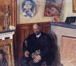 """Figure 2. Pierre Bonnard (1867-1947). """"Ambroise Vollard avec son chat"""", vers 1924. Musée des Beaux-Arts de la Ville de Paris, Petit Palais."""