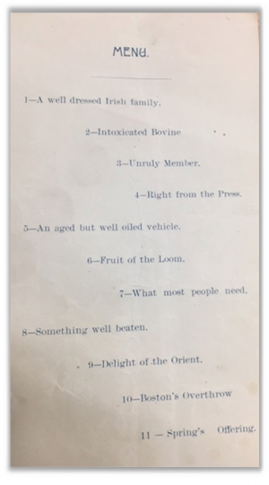 Second Baptist Church. Supper: Wednesday February First, 1893. Manuscript: Menu. Second Baptist Church: 1893. From McGill University Library, Rare Books and Special Collections, https://mcgill.on.worldcat.org/oclc/1125324536.