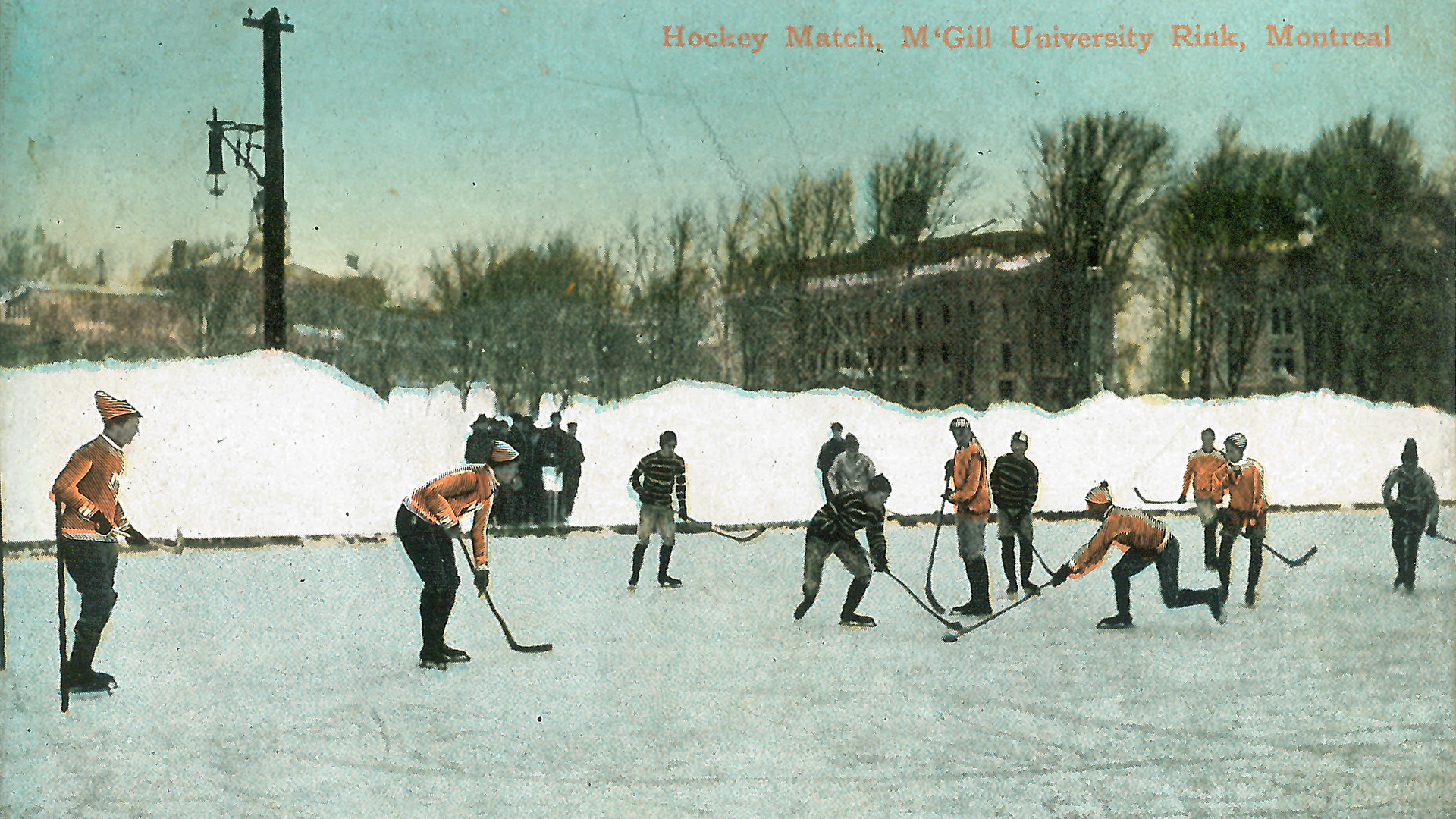 Postcard of hockey match at McGill University, 1097, The Ian C. Pilarczyk collection, McGill University Archives