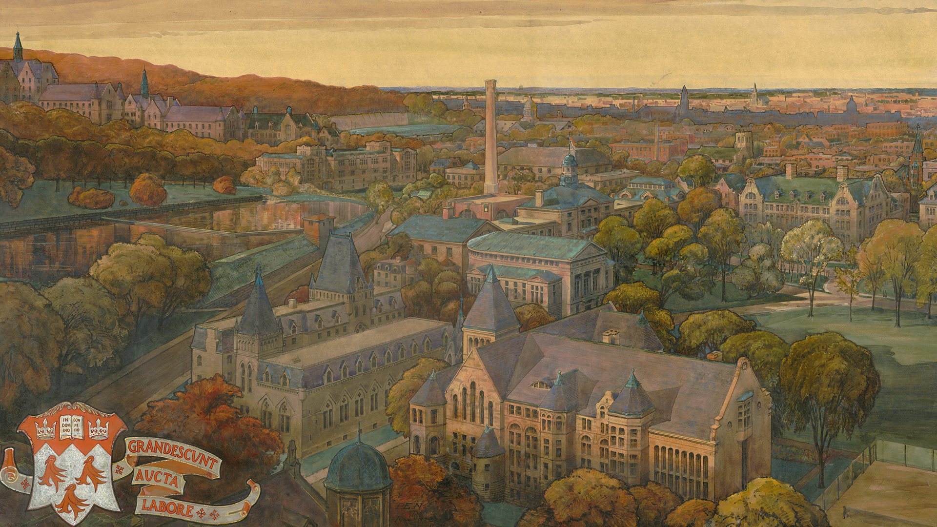Bird's-Eye View of McGill University. Watercolour by Percy E. Nobbs, 1925. John Bland Canadian Architecture Collection. Rare Books & Special Collections.