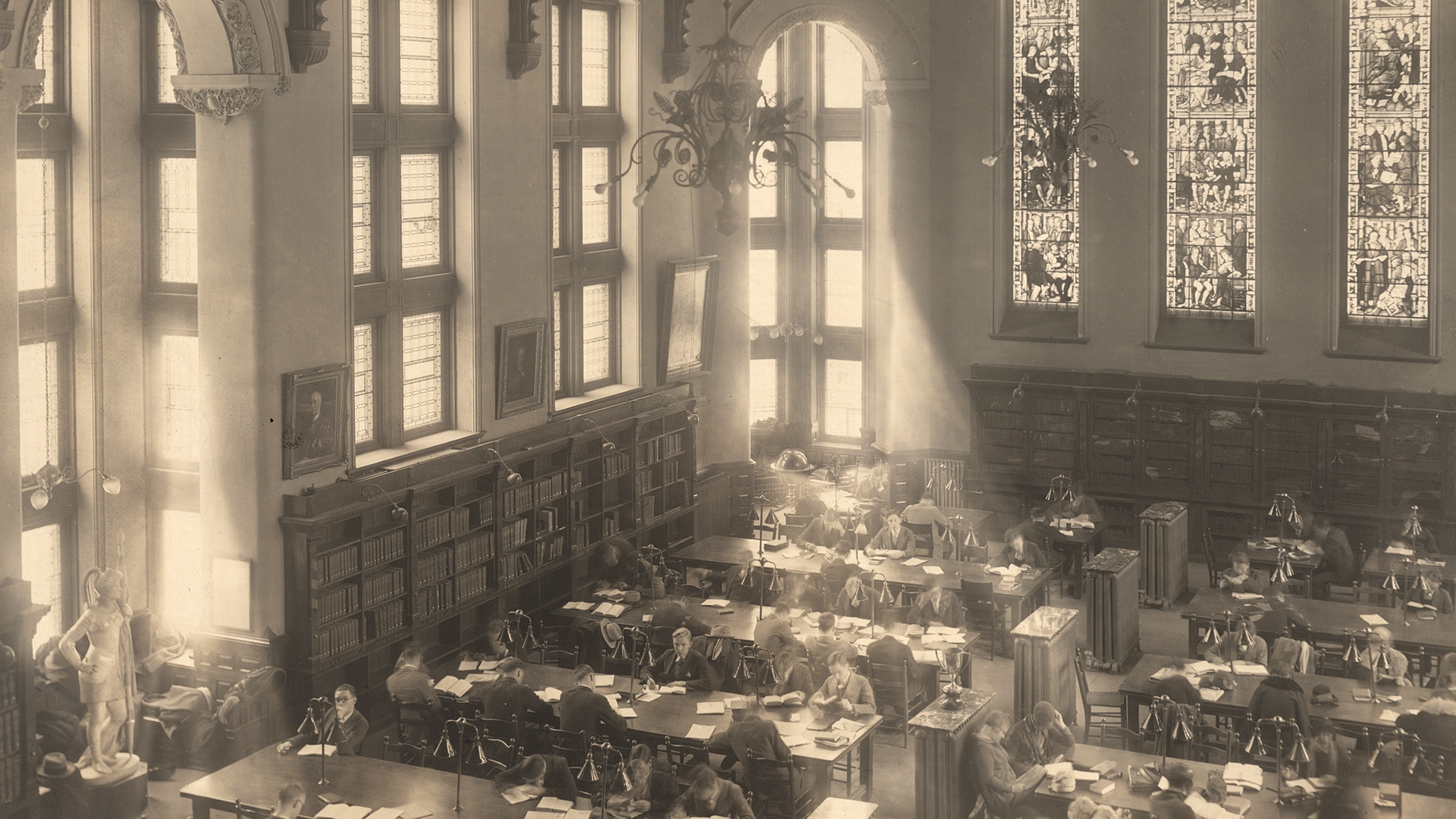 Interior Redpath Library with Students in Reading Room. E. Luter, 1927. Photomechanical print. PL043654, McGill University Archives.