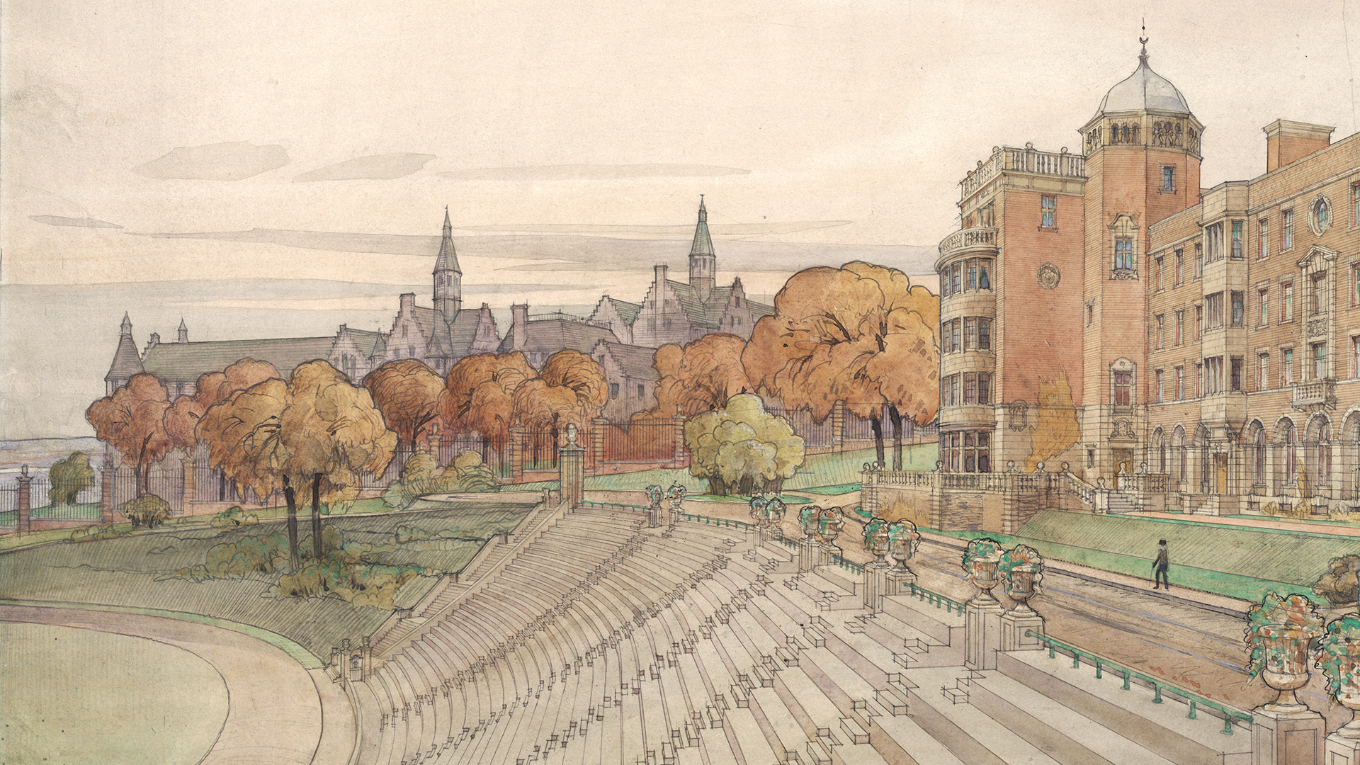 Proposed Student Residences by Percy Erskine Nobbs, 1918. John Bland Canadian Architecture Collection. Rare Books and Special Collections.