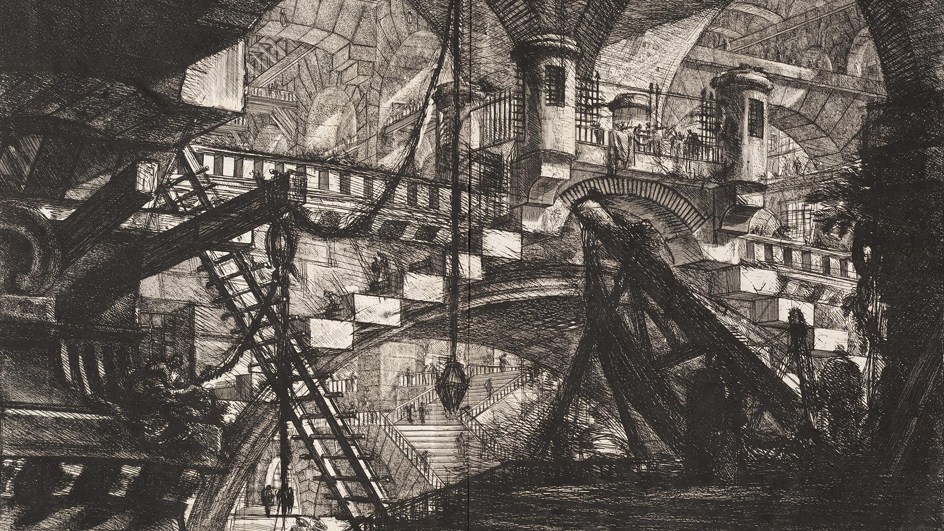 Carceri d'invenzione plate-XI by Giovanni Battista Piranesi, 1761.