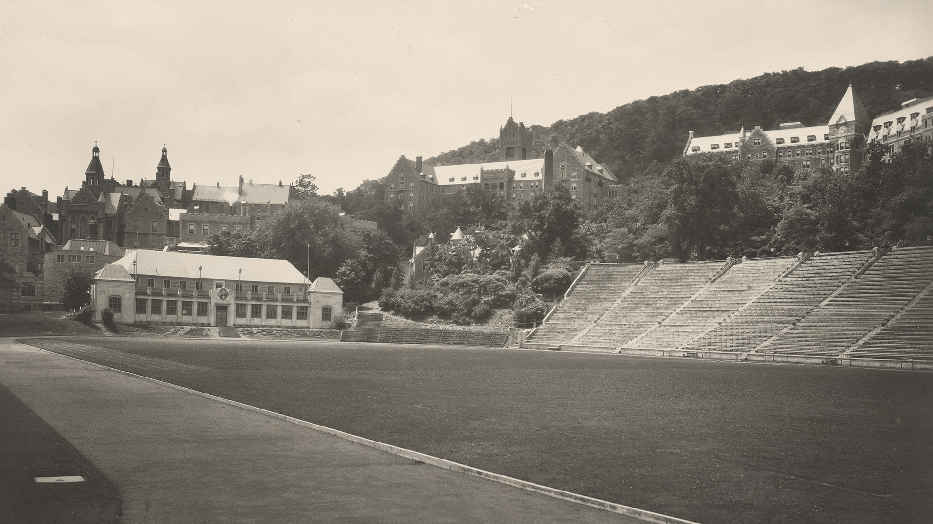 Percival Molson Memorial Stadium. Creator Unknown, date unknown. Black and white print. McGill University Archives, PA005563