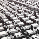 Bird's-eye-view of exam - 1970s, black and white.