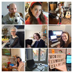 9 square thumbnails of Library staff in their home offices