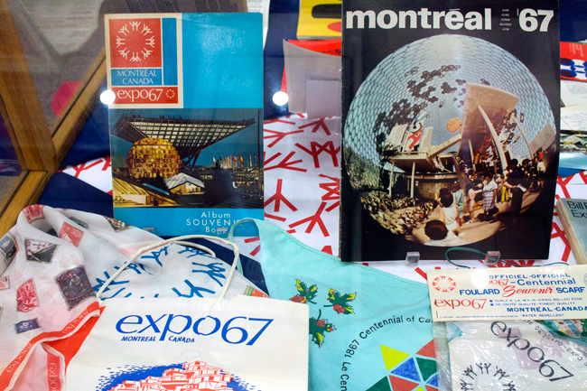 Exhibition cases with Expo67 materials.