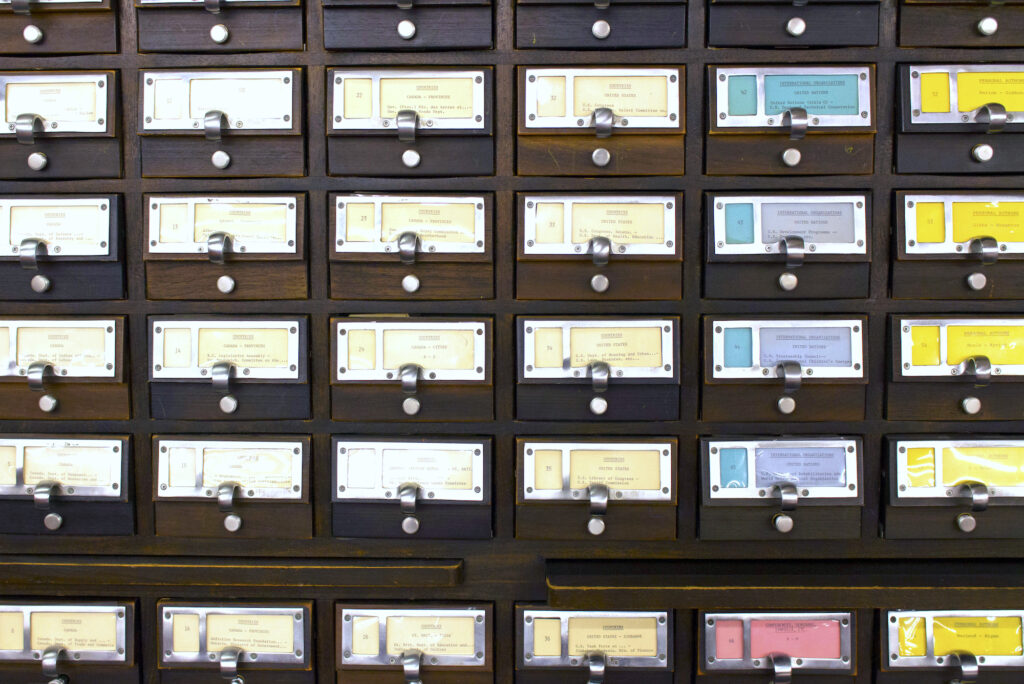 Close-up of card catalogs.