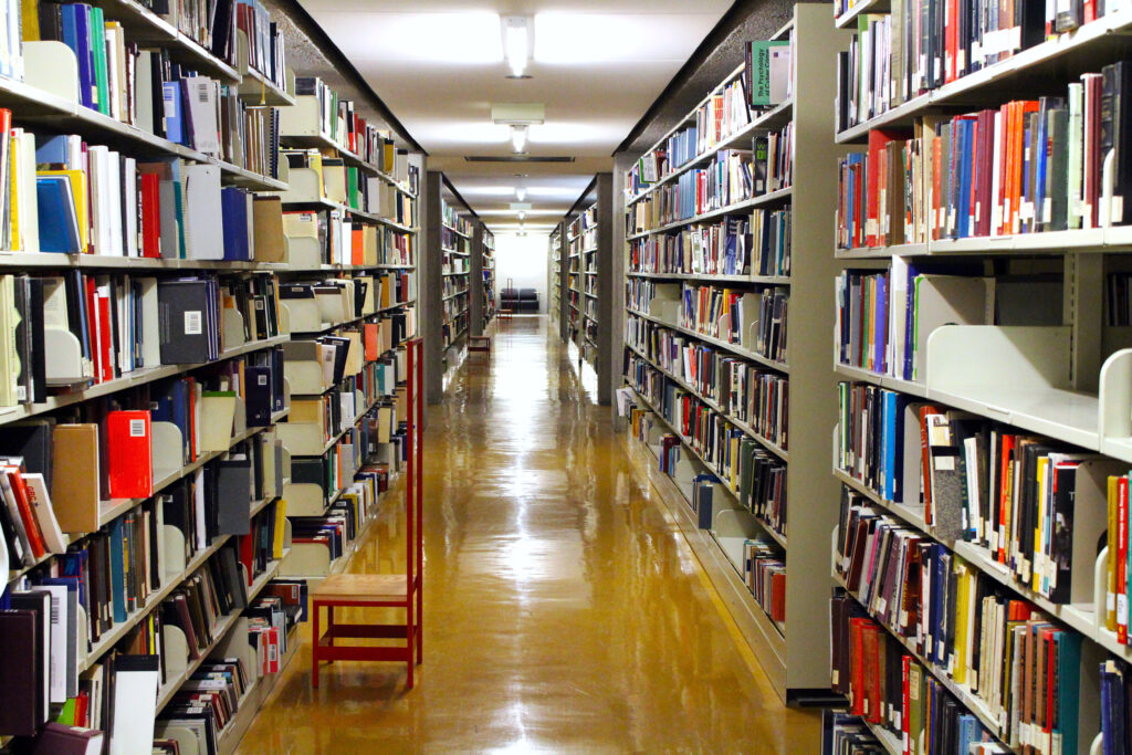 Long view of book stacks in the McLennan Library Building.