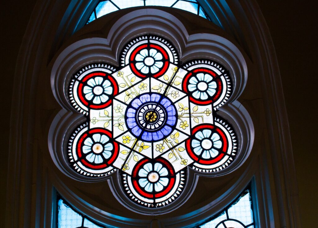 Close-up of stained glass in the Islamic Studies Library.