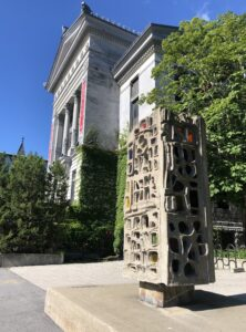 Ernestine Tahedl, Lantern, 1968, Cement and Glass Sculpture, 282.5 x 125 x 97 cm. McGill Visual Arts Collection, 1986-030. Photo by VAC, August 2020.