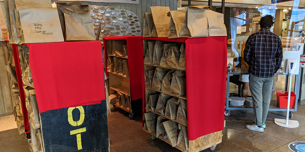 Library pickup service - brown bags on library carts.