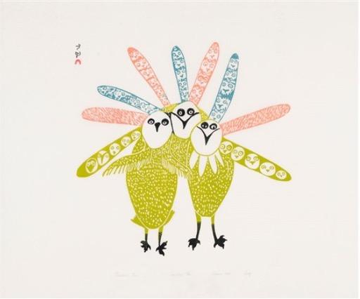 Feathered Trio (1968) by Lucy Qinnuayuak