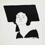 Black and white illustration of a woman in a mortar board hat