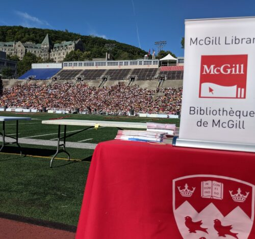 Library table at Discover McGill (Molson Stadium), 2019